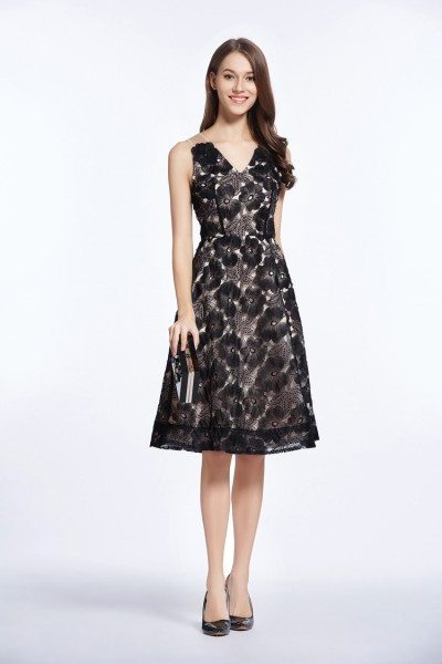 Black V-neck Organza Short Party Dress