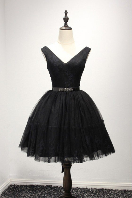 Simple Black Short Prom Gown Dress With Lace Straps