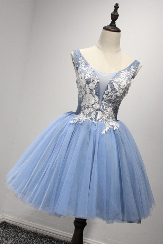 Corset Short Blue Homecoming Dress With White Lace Beading Straps - AKE18162