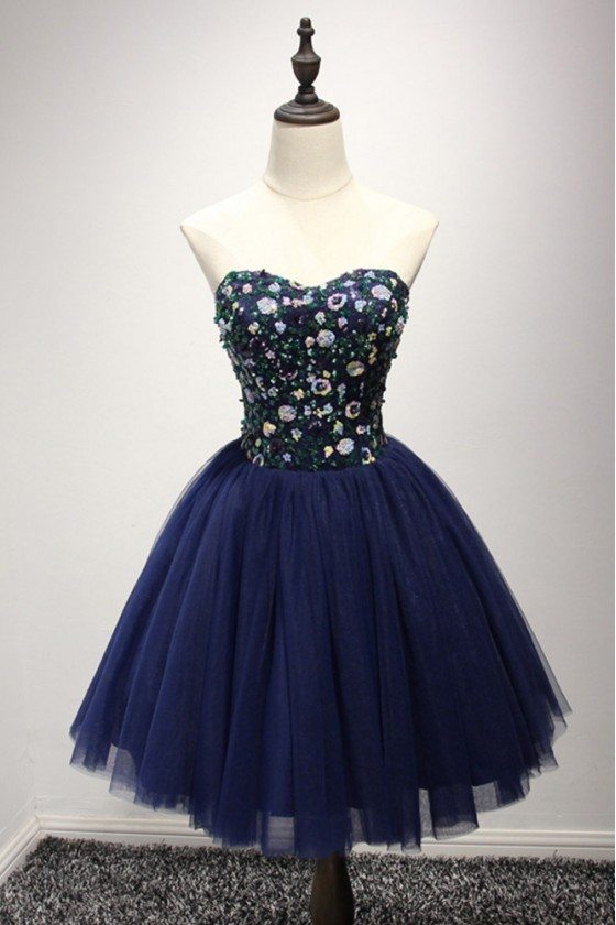 Dark Navy Blue Short Prom Dress With Sequin Bodice For Juniors - AKE18158
