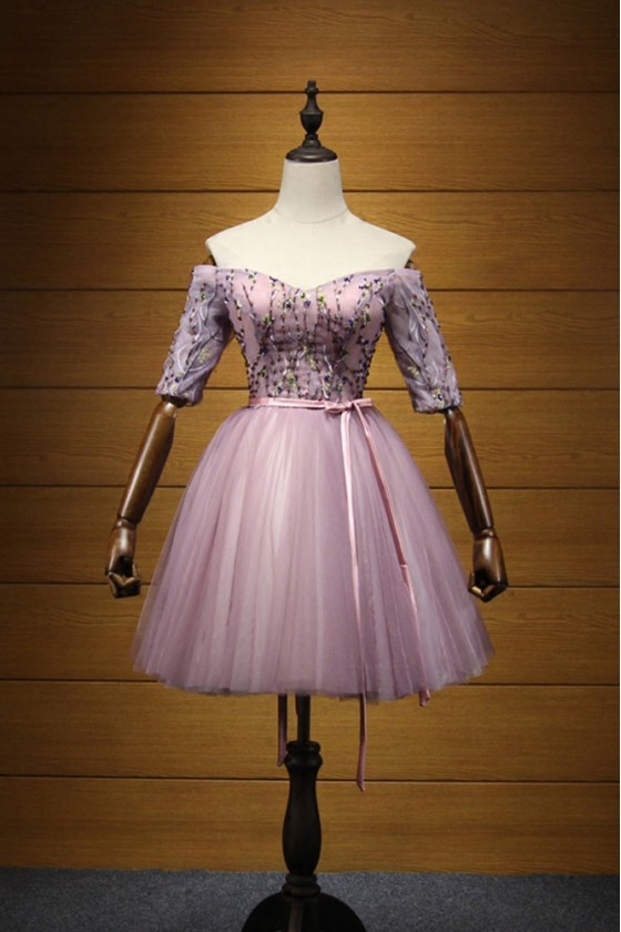 Vintage Off Shoulder Homecoming Dress Lilac Short With Beading Sleeves