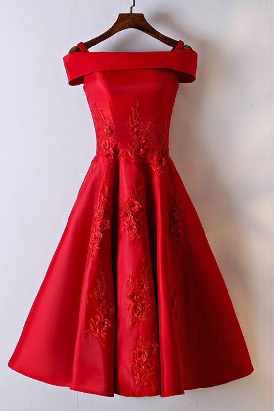 Gorgeous Red Off Shoulder A Line Lace Party Dress - MYX18002