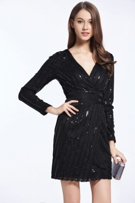 Little Black Sequin Long Sleeve Party Dress