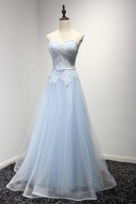 Elegant Long Tulle Evening Dress With Lace Beading Top Two Color Tune - AKE18150