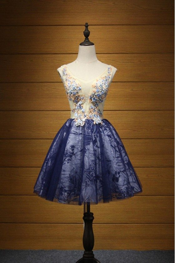 Unique Blue Prom Dress With Straps Yellow Floral Beading Bodice
