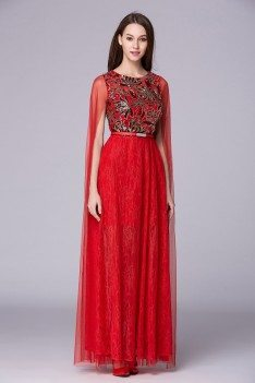 Long Red Cape Sleeve Embroidery Party Dress