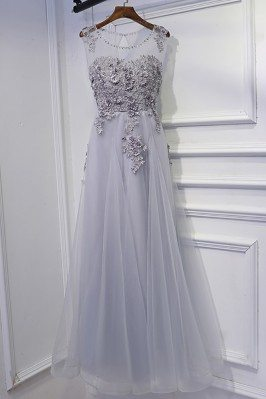 Classy Silver Long Tulle...