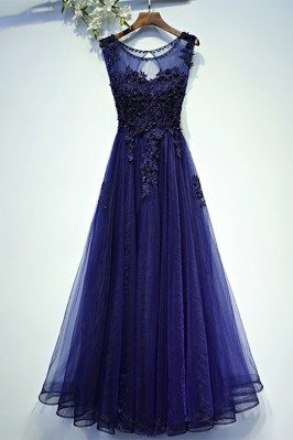 Navy Blue Lace Tulle Long...