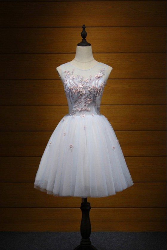 Cute Beaded Floral Homecoming Dress Short For Teens Girls 2018