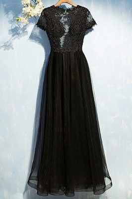 Sexy Long Black Lace Prom...