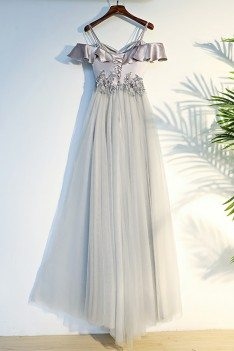 Unique Silver Off The Shoulder Long Prom Party Dress With Straps - MYX18027