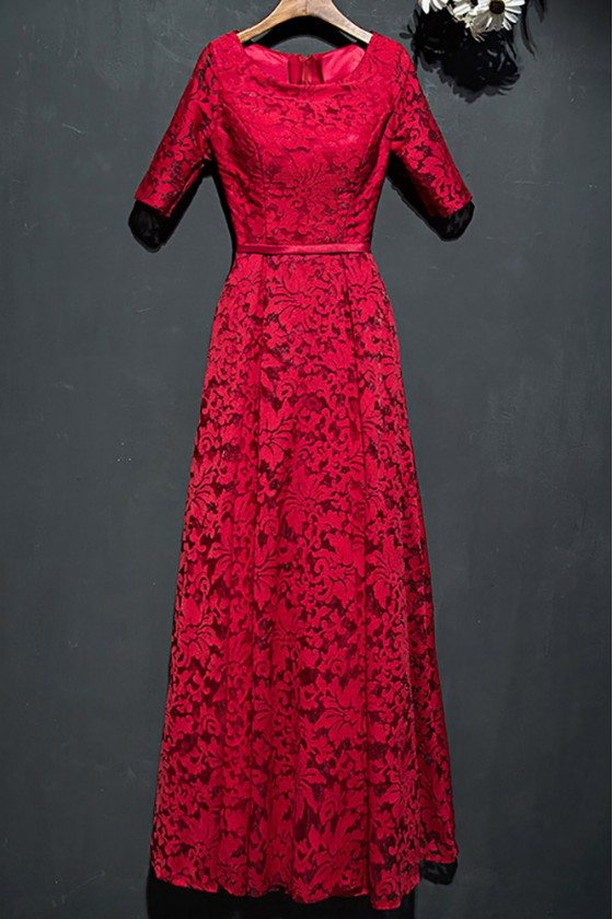 Modest Burgundy Full Lace Long Party Dress With Sleeves - MYX18032