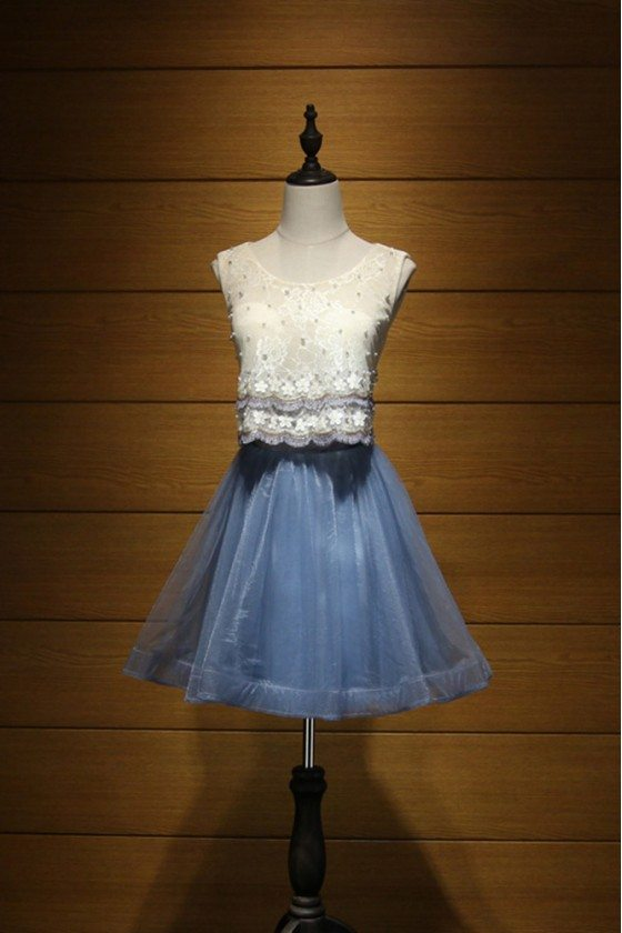 Two Piece Blue Prom Dress Short With Champagne Lace Beading Top
