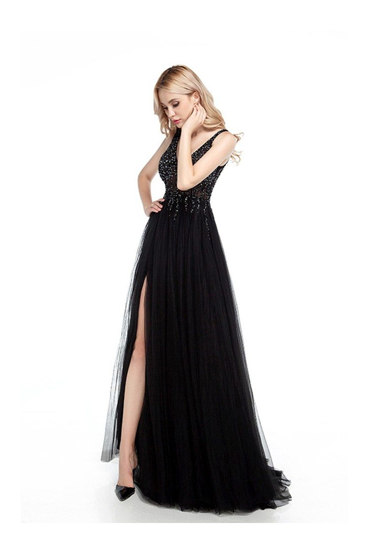 Tight Black Long Prom Dress With Slit And Sparkly Beading