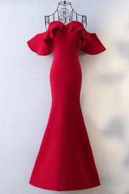 Tailor-made Burgundy Mermaid Long Formal Dress Off Shoulder - MYX18038