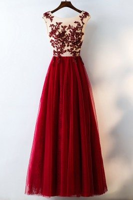 Formal Red Sequined Tulle Prom Dress Long With Lace - MYX18040