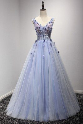 Ball Gown Blue-grey Prom Dress Long With Beaded Floral Top - AKE18135