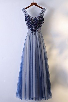 Unique Navy Blue Long Tulle...