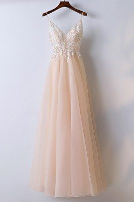Boho Champagne Lace Long...