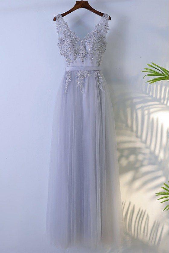 Grey Beaded Long Tulle Prom Dress V-neck Sleeveless - MYX18062