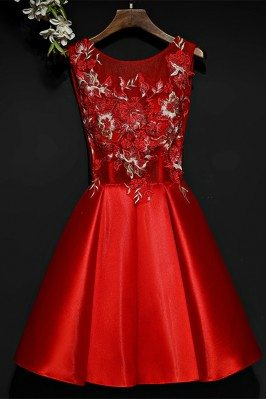 Little Red Short A Line Lace Party Dress For Weddings - MYX18065