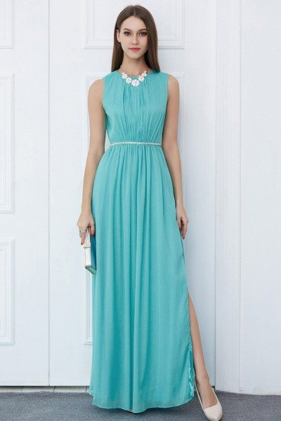 Beaded Waist Long Chiffon Party Dress