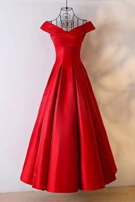 Simple Red Satin Ballgown Formal Dress With Off Shoulder - MYX18072