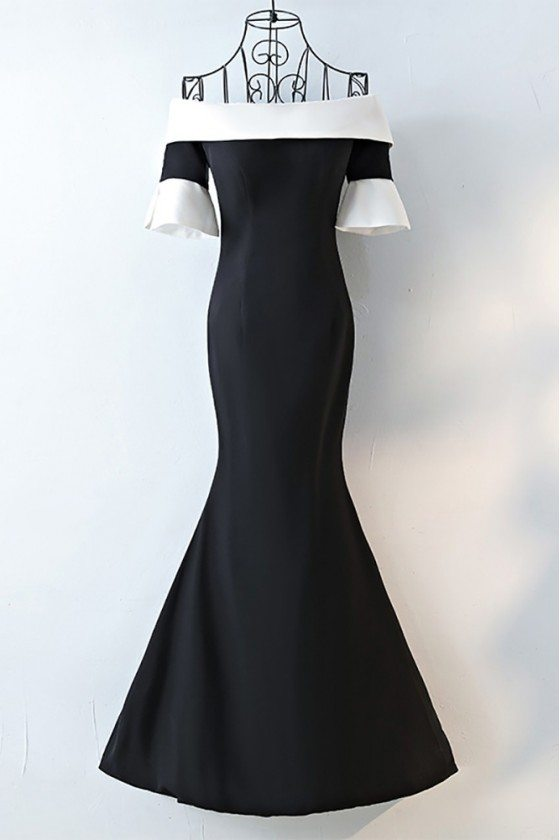 Chic Black And White Off Shoulder Prom Dress Long Fitted Mermaid - MYX18075