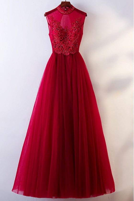 Vintage Chic High Neck Burgundy Prom Dress With Tulle Sleeveless - MYX18077