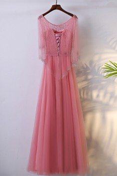 Special Beaded Pink Bling Long Formal Dress With Cape Sleeves - MYX18080