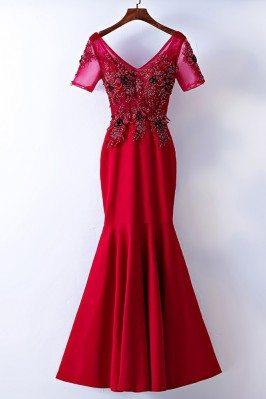 V-neck Tight Burgundy Mermaid Formal Dress With Short Sleeves - MYX18081