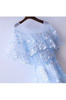 Beautiful Cap Sleeve Blue Prom Dress Long With Tulle - MYX18087