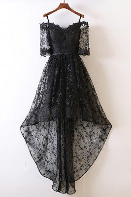 Unique Black High Low Prom Dress Lace With Off Shoulder For Teens - MYX18089