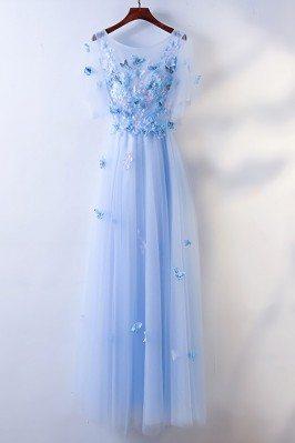 Cute Blue Flowy Long Cheap...
