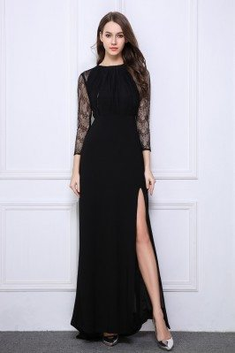 Black Lace Long Sheer Sleeve Slit Prom Dress