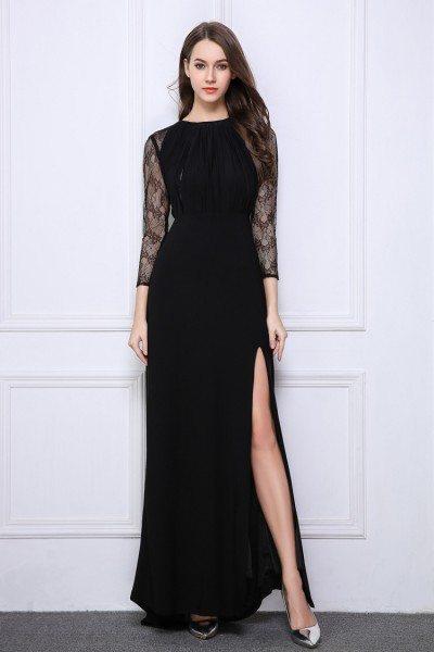 Black Lace Long Sheer Sleeve Slit Prom Dress 99 Ck520 Shepromcom