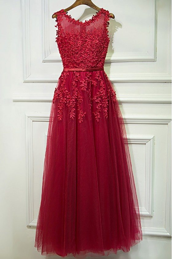 Lovely Applique Lace Long Prom Dress Cheap Sleeveless