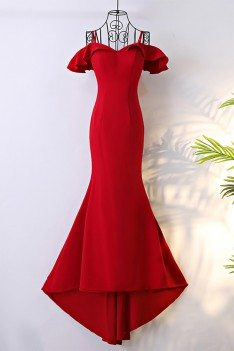 Classy Long Red Mermaid Formal Dress With Train - MYX18099
