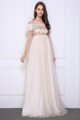 Lolita Nude Empire Lace Long Formal Gown