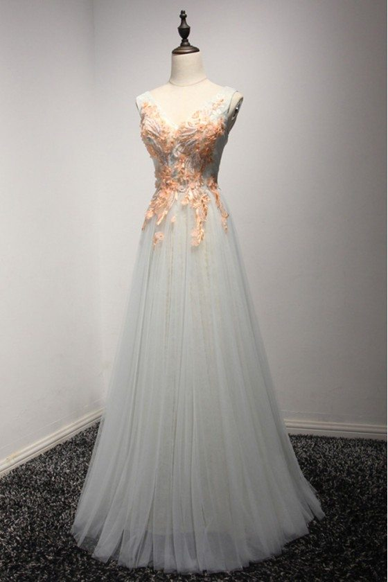 Long Tulle Grey Formal Dress With Different Floral Beading Bodice