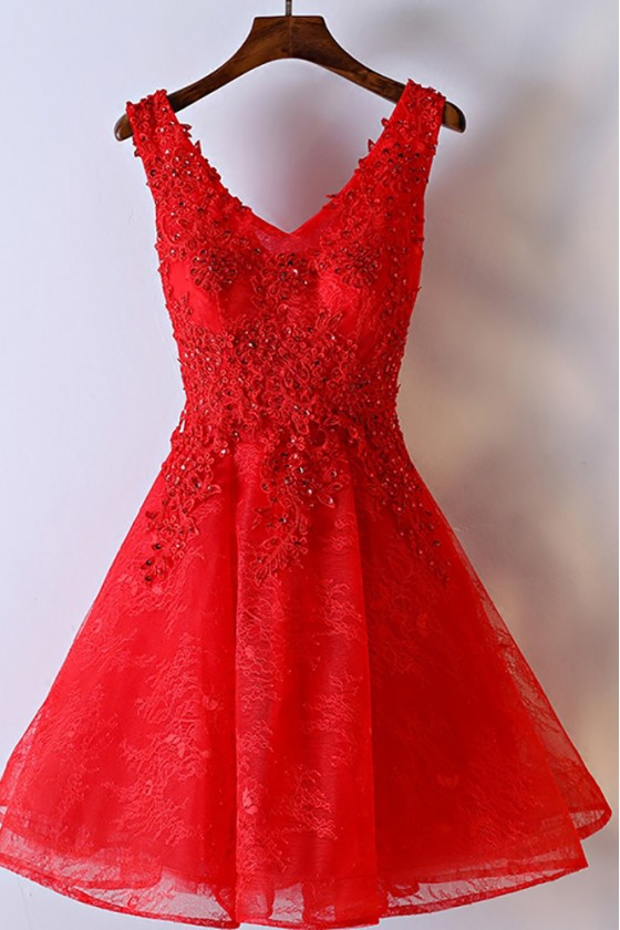 Gorgeous Short A Line Red Party Dress V-neck With Lace - MYX18106