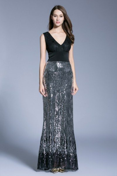 Black Double V-neck Sequin Long Evening Dress