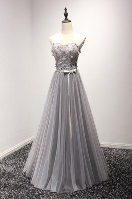 Elegant Grey Long Prom...