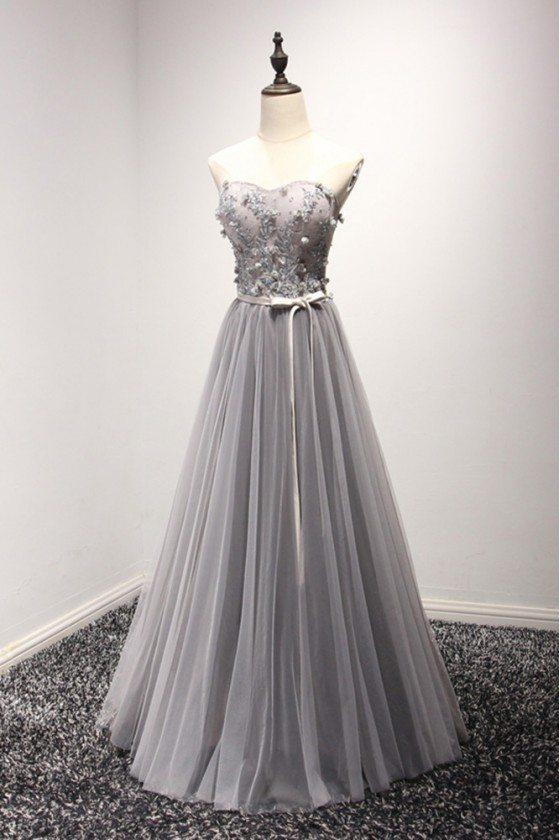 Elegant Grey Long Prom Dress 2018 Tulle With Beading Lace - AKE18116
