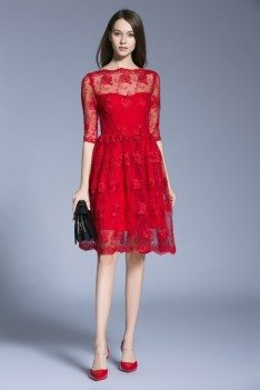 Little Red Lace Half Sleeve Party Dress
