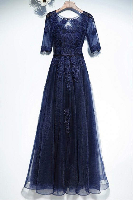 Navy Blue Lace Short Sleeve Long Formal Dress For Less - MYX18120