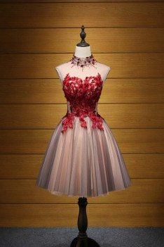 Modest Short Floral Homecoming Prom Dress With Red Lace Beading - AKE18111