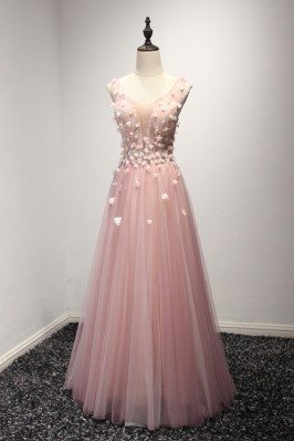 Princess Pink Tulle Formal Dress With Floral Bodice For Women - AKE18110