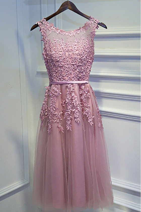 Pretty Pink Lace Short Party Dress Sleeveless With Appliques - MYX18121