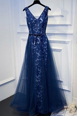 Unique Navy Blue Long Lace Prom Dress V-neck With Sash - MYX18123
